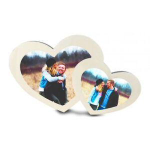 Personalised Double Heart Shaped printed photo frame personalised with any photo