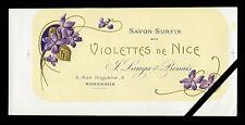 Old French Perfume Soap Label: Vintage Antique Savon Violettes De Nice France