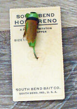 Vintage South Bend Hop Oreno #815-16 Wood Fly Fishing Lure on card!