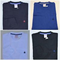 Men Brooks Brothers LONG SLEEVE Solid T Shirt 1818 Crew Neck Tee - S M L XL XXL