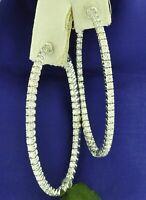 Certified 3.00 Ct Round Cut Diamond Inside Outside Hoop Earrings 14K White Gold