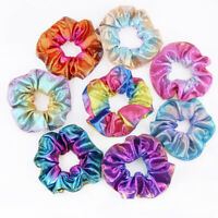 8Pcs Shiny Metallic Hair Scrunchies Ponytail Holder Elastic Hair Ties Bands Girl