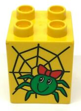 Lego Duplo Smiling Spider Web Printed Block Specialty Yellow Piece Part 2x2
