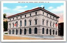 The Post Office and Federal Court in Ottumwa, Iowa Linen Postcard 1945
