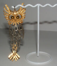 "VINTAGE 4 1/2"" RETICULATED WIGGLY TWO TONE OWL PENDANT-Really Cute-"