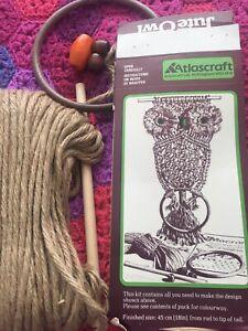 Vintage 1970s Macrame Owl Kit Atlascraft