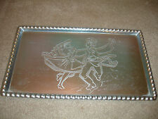 Vintage Hungarian Dancers Etched Aluminum Serving Tray