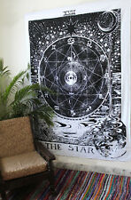 The Star Tarot Black & White Indian Hippie Tapestry Room Decorative Wall Hanging