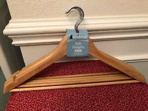 Suit Hangers w/Bar, Whitmor, Set of 5 Brand New Wooden