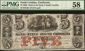 LARGE 1860 $5 DOLLAR BILL SOUTH CAROLINA BANK NOTE CURRENCY PAPER MONEY PMG 58