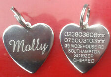 Engraved Pet Tags Name ID Disc Dog Cat for Collar Personalised Silver Gold Tag