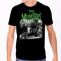Rock Rebel The Munsters Family Coach Tee Shirt Black Halloween Horror Goth Scary