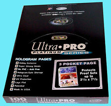 100 ULTRA PRO PLATINUM 3-POCKET 3.5x7.5 Pages Sheet Ticket Currency Coupon Cards