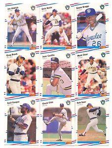1988 Fleer Milwaukee Brewers Complete Team Set! Robin Yount Paul Molitor ++
