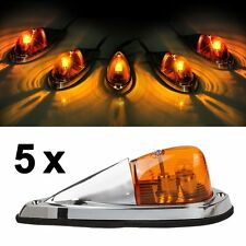 5x Universal Teardrop Style Amber Cab Roof Clearance Marker Covers Kit For Truck