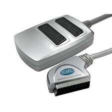 2 Vías Scart Adaptador Separador Caja SPLIT A 2 TV Premium Plateado distancia