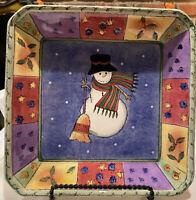 "Sango Sweet Shoppe Christmas Snowman Platter 10""x10"" by Sue Zipkin"
