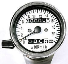 Minitacho Tacho Tageszähler 60mm Weiß Chrom 2:1 für Honda Yamaha Harley KM/H TOP