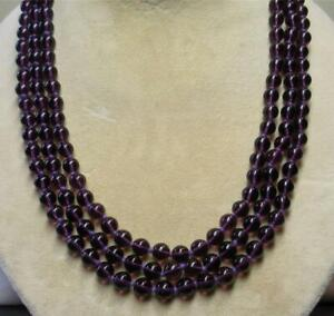 """JOAN RIVERS GOLD EP HAND KNOTTED 8mm AMETHYST CZECH GLASS PEARL 62"""" NECKLACE NOS"""