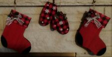 Set of 3 Rustic Wood Christmas Stockings and Mittens (Silver Bow)