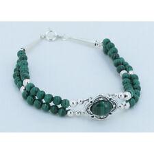PETITE QVC Double Strand 925 Sterling Silver Natural Green Malachite Bracelet
