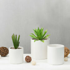 MyGift Set of 3 Modern Matte Off White Ceramic Flower Pots, Nesting Planters