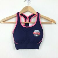 Fila Womens Athletic Sports Bra Size S Blue Pink Texture Racerback Removable Cup