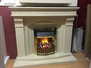 Bridge fireplace in roman stone marble with down lights
