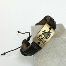 Bracelet Brown Leather Handmade Sagittarius Zodiac Sign Horoscope Astro Surfer