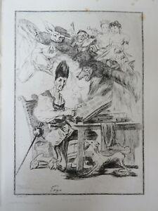 Félix BRACQUEMOND 1833-1914 EAU FORTE DON QUICHOTTE GOYA ESPAGNE CARICATURE 1860