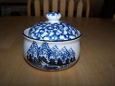 Tienshan Folk Craft WOLF Creamer & Sugar Bowl & Lid Blue Sponge