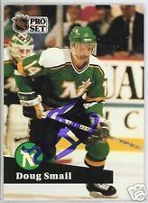 DOUG SMAIL NORTH STARS  1992 PRO SET  AUTOGRAPHED HOCKEY CARD JSA