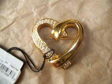 "Pave Crystals, Goldtone Metal, 1.5x1.5"" Swarovski Designer Heart Pin, Swan Mark,"