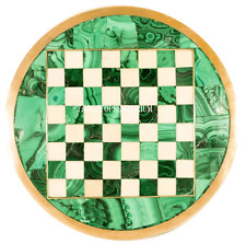 """12"""" Green Marble Coffee Chess Table Top Malachite Marquetry Inlay Art Work Décor"""