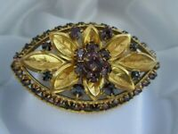 Vintage Amethyst Glass Flower Leaf Gold Tone Metal C Clasp Costume Brooch Pin