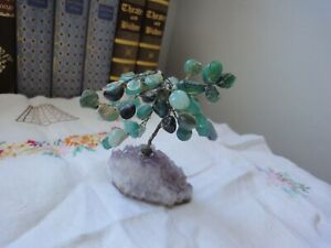 GEMSTONE Crystal TREE Hand Crafted GREEN Agates & Larimar AMETHYST Crystal VGC