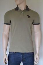 Nueva Abercrombie & Fitch Camisa Polo clásico con el logotipo de contraste s Olive Moose