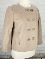 J. Crew Cashmere Wool Coat Cropped Double Breasted Jacket Camel Tan Womens 8
