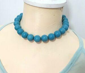 Costume jewellery blue bead necklace N497