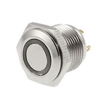 Blue LED Light Lamp OFF-(ON) 12V 16mm Momentary Push Button Switch 4 Pin SPST