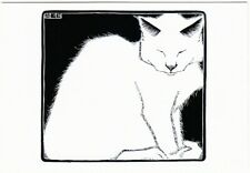 White Cat by M.C. Escher Woodcut Art Postcard