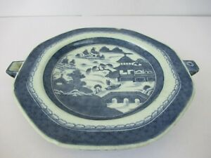 "Antique Chinese Blue And White Porcelain Dish Warmer Hot Water Plate Charger""F67"