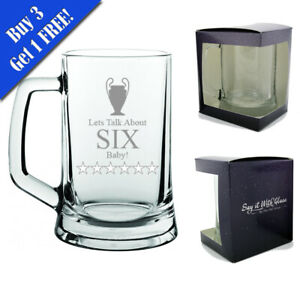 Engraved Tankard Beer 16.5oz Glass Liverpool Klopp Let's Talk About SIX Baby!
