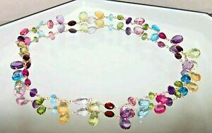 14K Gold GF Blue Pink Lemon Topaz Garnet Amethyst Multi Gemstone Necklace