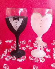 2 GROOM SUIT BRIDE DRESS RHINESTONE GLITTER GLASSES WEDDING BRIDESMAID GIFT