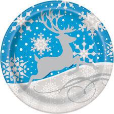 8X Azul y Plata Copos de Nieve & Reno Navidad Platos de Papel para Fiesta 23 Cm