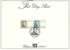 [FDS7] Belgium FDS 1999-7 Royalty First Day Sheet SUPERB