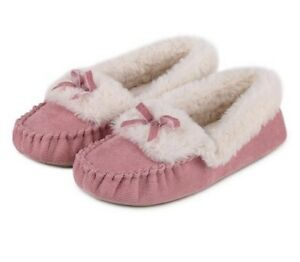 Totes Women's Cord Faux Fur Moccasin Slippers – Pink Size Uk L 7-8  (H22)