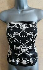 Black Bustier Top With Ivory Floral Design Size 12 Pierce Fionda (F)