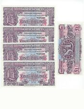 GREAT BRITAIN BRITISH MILITARY AUTHORITY 1 POUND   2nd  SERIES 5 PCS LOT  UNC